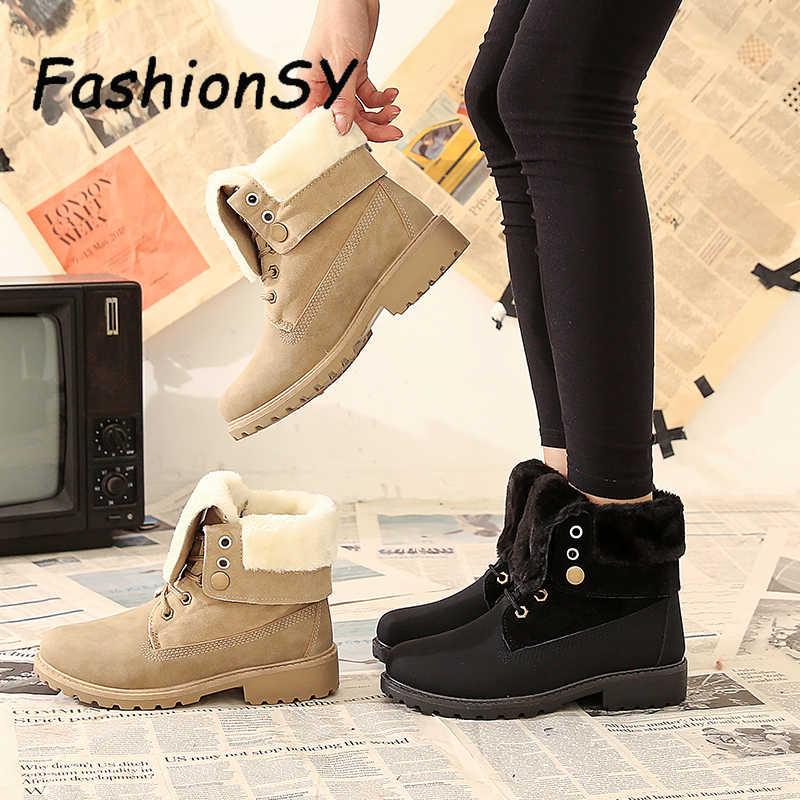 ผู้หญิงหิมะรองเท้าบูท Lace Up Winter WARM PLUS ขนาดแพลตฟอร์มสุภาพสตรีรองเท้า FLOCK ขนสัตว์ผู้หญิงรองเท้าหนังนิ่มรองเท้าผู้หญิง