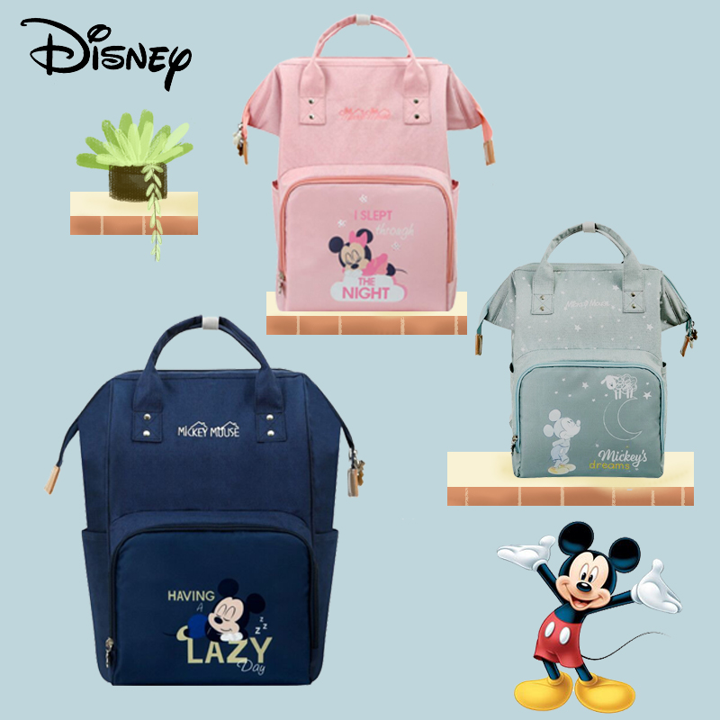 Disney Minnie Mickey USB Mummy Diaper Bags Maternity Baby Bag Multifunction Large Capacity Mummy Diaper Bags Zipper Mother Bag