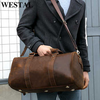 WESTAL Men Genuine Leather Travel Bag for Luggage Duffle Bag Suitcase Carry on Luggage male bags big weekend Bags Travel 8925 - DISCOUNT ITEM  48% OFF All Category