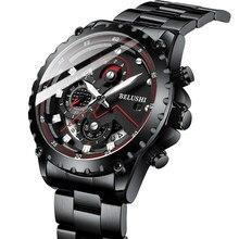 Moda nova 2021 homens relógios belushi luxo chronograph aço completo à prova dwaterproof água relógio de quartzo masculino data esportes