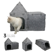 Pet Cat House DIY Cat Felt House Cat Felt Tunnel Toy Kitten Cat Caves Sleeping Bag Pet Toy Pet Supplies(China)