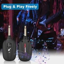 Frete grátis v8 sistema de guitarra sem fio embutido recarregável 4 canais transmissor receptor para guitarra elétrica baixo