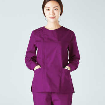 Women\'s Fashion Long Sleeves Medical Scrubs Set Pure Cotton Side Opening Front with Zipper and Scrub Pants Nursing Uniforms