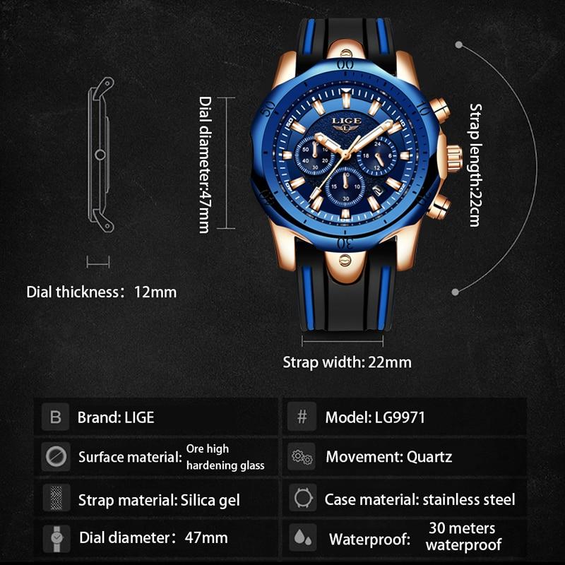 Closeout Dealsá2019 LIGE Brand Watch Men's Chronograph Analog Quartz Watch Sports Waterproof Silicone