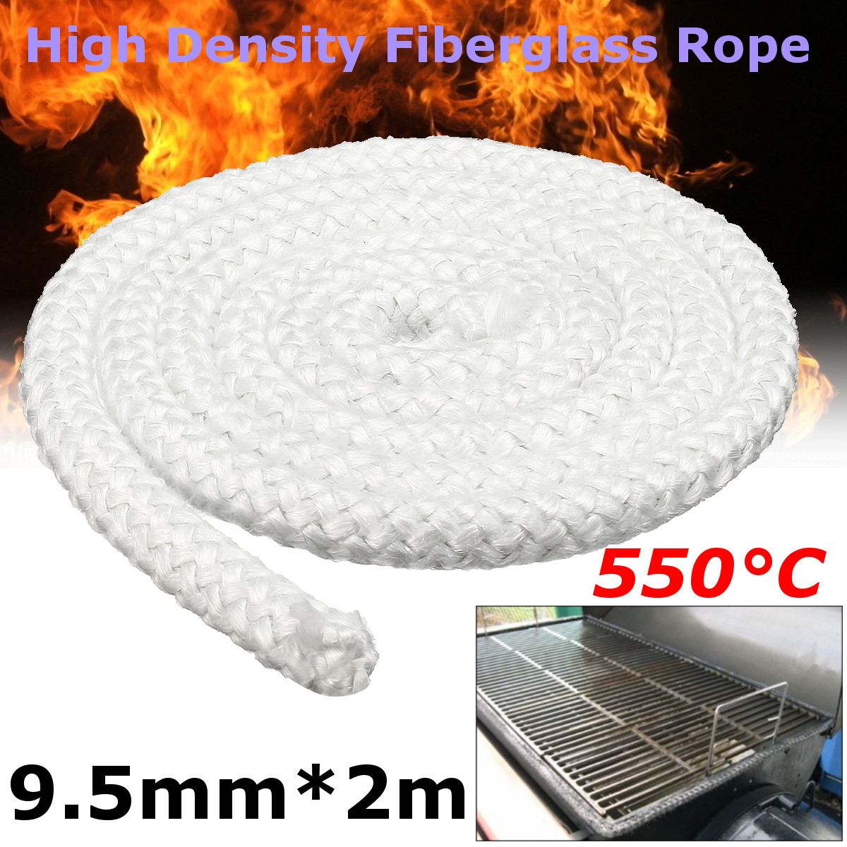 2mx9.5mm White High Density Fibreglass Rope Wood Stove Heater Door Seal Gasket Anti Temperature Commercial Heater Oven Part New