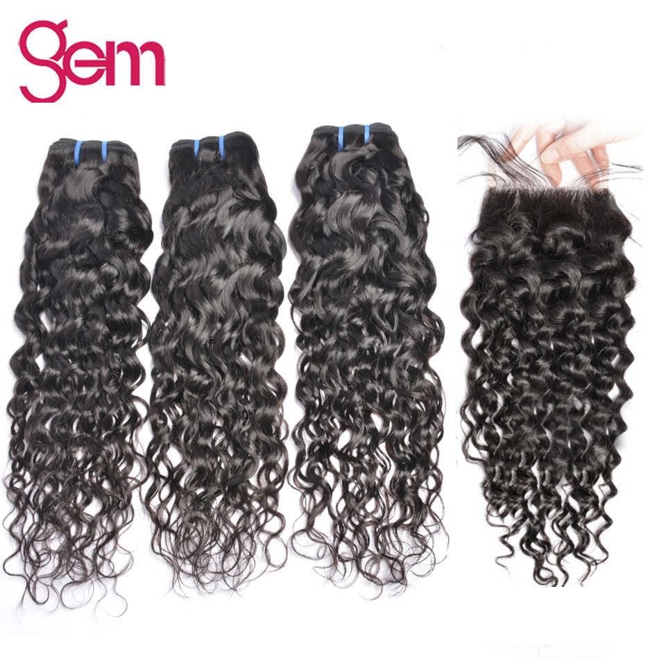 Brazilian Water Wave Bundles with Closure GEM Beauty Human Hair Weave Bundles with Closure Human Hair Weave Non Remy 1B