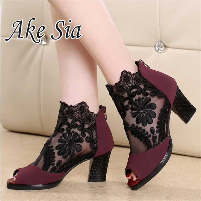 Summer mesh Peep Toe sandals sexy heels single shoes women shoes in Europe and America 2018 spring and summer gauze mujer 1