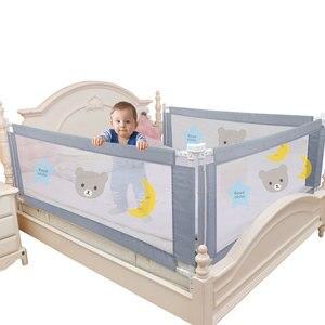 Image 1 - Kinderen Bed Barrière Hek Veiligheid Vangrail Security Opvouwbare Baby Thuis Kinderbox Op Bed Hekwerk Gate Wieg Verstelbare Kids Rails