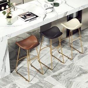 Bar minimalista moderno silla nórdica taburete alto taburete de Bar para casa base alta Red taburete de Bar rojo Silla de Bar frontal
