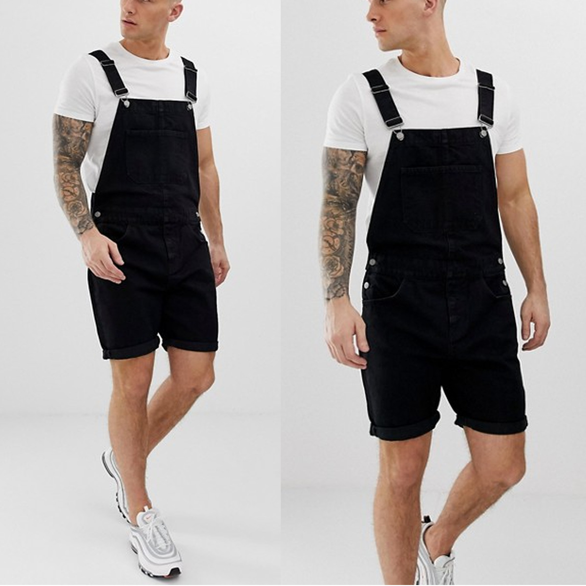 Newest Style Retro Men Cowboy Denim Short Trousers With Holes Shorts One-piece Working Bib Top Pants For Sale 2020 Men Clothes