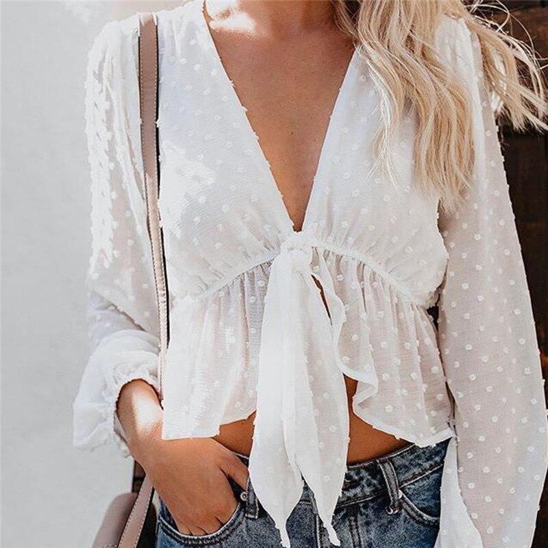 Летняя Повседневная блуза Mujer De Moda, кружевная короткая рубашка с v-образным вырезом, Женские топы и блузки, однотонные длинные блузы, женская