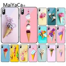 MaiYaCa candy farben eis Blume Pizza Pfingstrose glas Shell Telefon Fall Für iPhone XR XS MAX X 7 8 6S Plus 11 11Pro 11Pro max