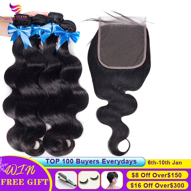 OYM HAIR Brazilian Hair Body Wave 3 4 Bundles With Closure Human Hair Bundles With Closure 6x6 Lace Closure Remy Hair Extension