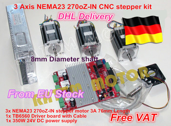 3 axis CNC stepper kit 3 NEMA23 76MM/3.0A 270oz-in stepper motor + 3 axis CNC board 3axis CNC controller board for CNC Router image
