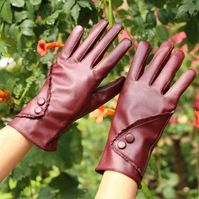 新ファッション女性レディース冬暖かいソフト Pu レザー手袋屋外防風タッチスクリーンミトン黒、茶色、紫
