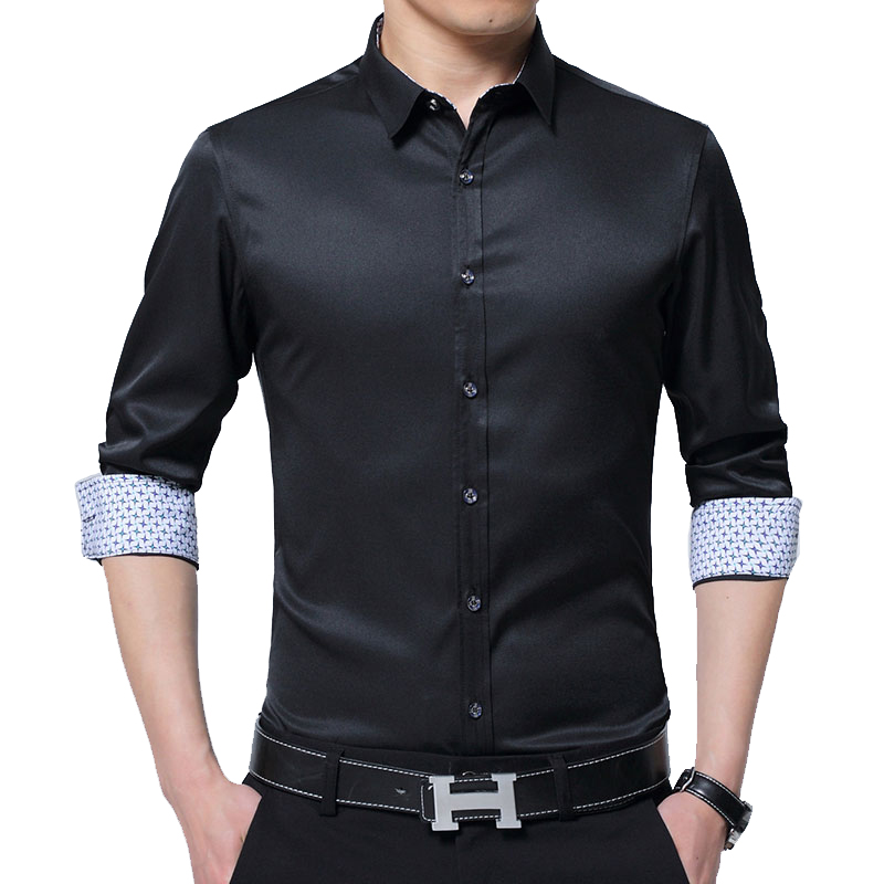 BROWON Men Shirt Business 2019 Autumn Stretch Shirt Men Cardigan Long-sleeved Turn-down Collar Social Shirt Solid Wedding Shirt