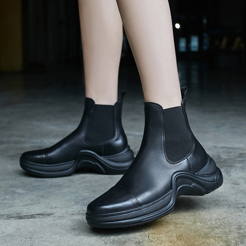 Women's real leather thick sole ankle boots platform flats elastic patchwork slip-on punk short booties punk chelsea boots shoes