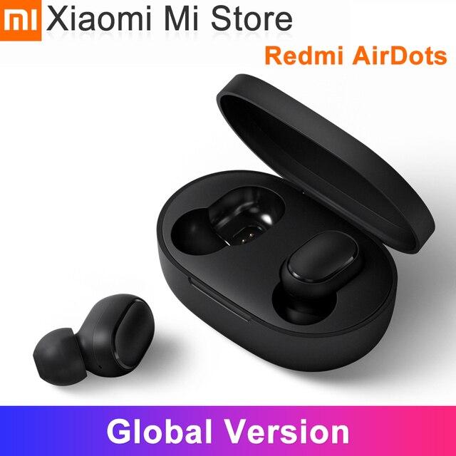 Xiaomi redmi airdots sem fio bluetooth 5.0 in ear fones de ouvido baixo estéreo de carregamento controle ai mic handsfree earbud cn versão