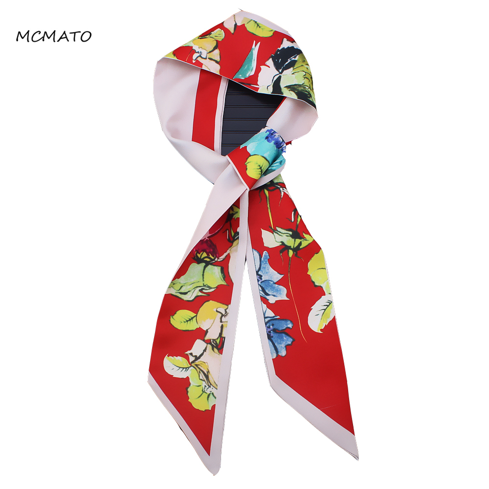 Abstract Hand Painted Flower And Bird Prints Skinny Scarf 2019 New Brand Silk Scarf For Women Fashion Bag Head Scarf For Ladies