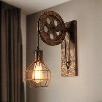 Lâmpada de parede Do Vintage Decoração Industrial Wandlamp Retro Polia Applique Murale Levaram Luzes de Parede Para Casa Luminária luz de parede|Luminárias de parede| |  -