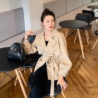 Online Celebrity Khaki Coat WOMEN'S Dress Korean style 2019 Early Autumn New Style Popular Elegant Short height Short Mini Fan y