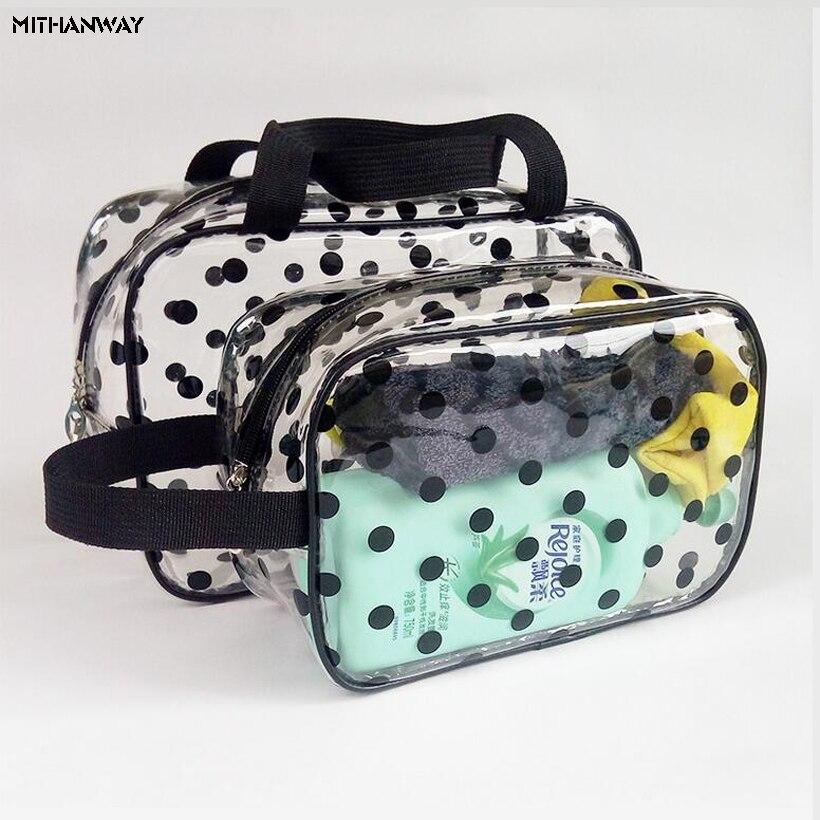 Bolso de mano PVC impermeable grueso transparente para mujer, portátil, para baño, baño, viaje, almacenamiento, bolsa de 5 colores