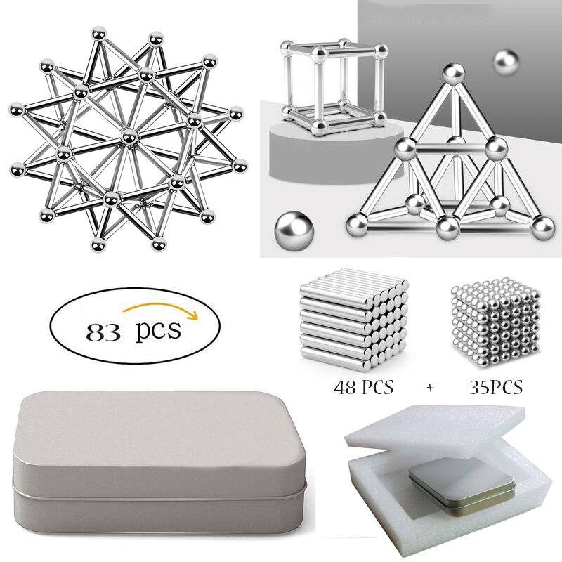 83pcs Magnet Building Blocks Construction Set 48 Magnetic Sticks 35 Non-magnetic Ball Puzzle Stacking Game Sculpture Desk Toys