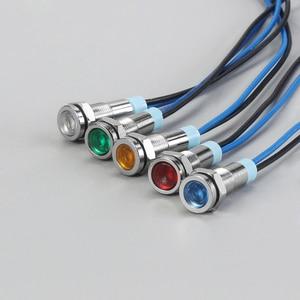 6 мм светодиодный металлический индикатор светильник 6 мм Водонепроницаемая сигнальная лампа 6 в 12 В 24 В 220 В с проводом красный желтый синий зеленый белый 6ZSD.X