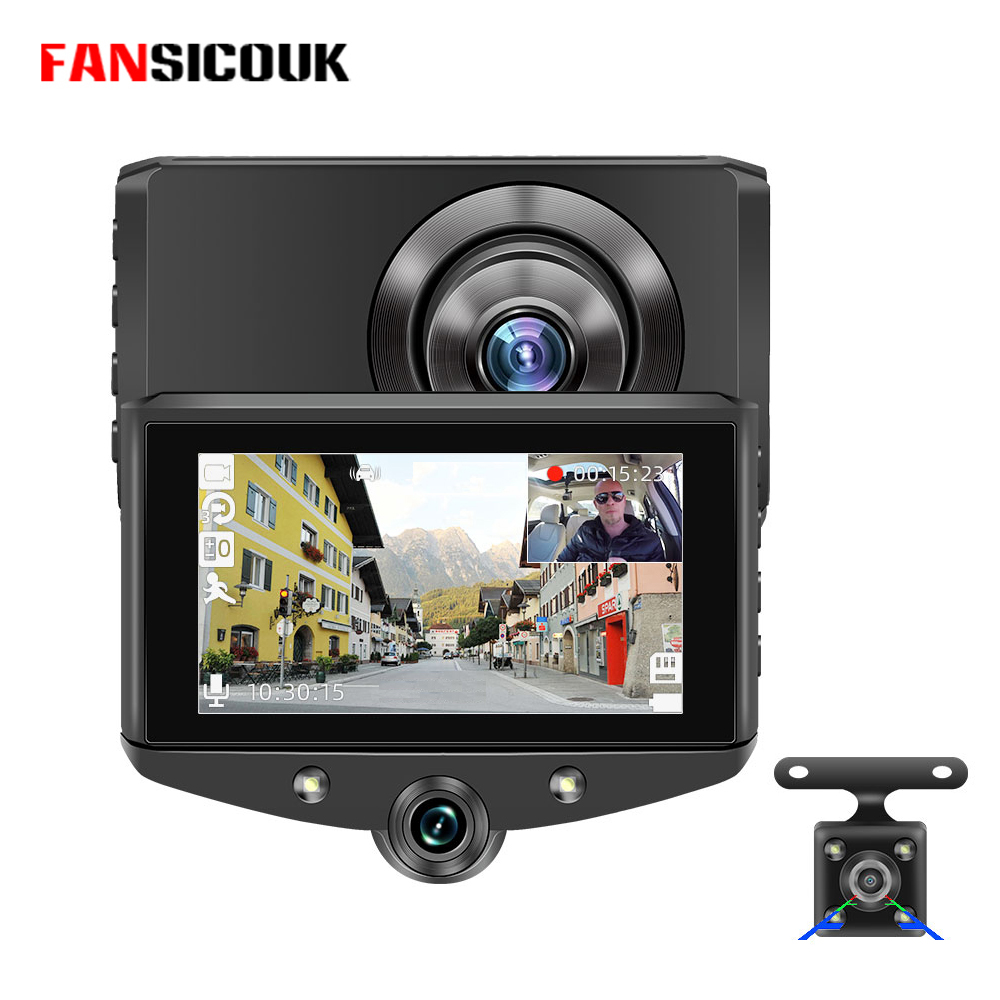Mini <font><b>Car</b></font> <font><b>DVR</b></font> 3 Cameras 4'' IPS 1080P HD Rearview Camera Dash <font><b>Cam</b></font> Loop Recording Parking Monitor Video <font><b>USB</b></font> Camera H5-3 image