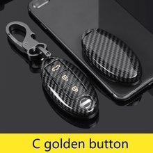 Carbon Key Cover For Nissan TEANA Qashqai Juke K/Skyline X-trail Murano March Geniss Tiida Livina Sylphy 3/4BTN Car Remote Case