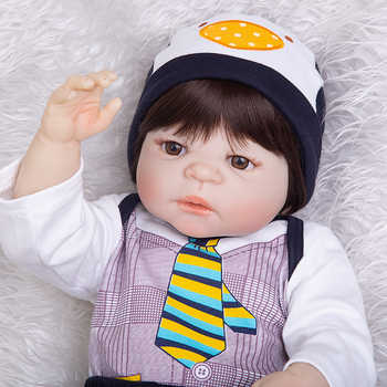 Limited Collect 23 Inch Reborn Baby Doll Toys 57 Cm Full Silicone Vinyl Realistic Handsome Babies Doll Boys Kid Birthday Present
