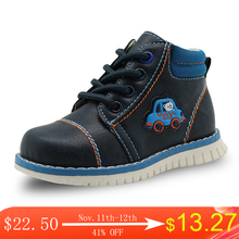 Apakowa אביב סתיו בני ילד ילדי נעלי עור מפוצל קרסול פעוט בני מגפי ילדי אופנה Zip מרטין מגפי מוצק נעליים