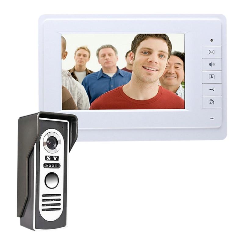 7 Inch Wired Video Door Phone Intercom System Color LCD With Waterproof Digital Doorbell Camera Viewer IR Night Vision (US Plug)