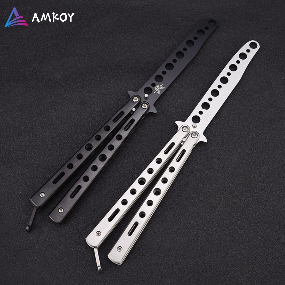8.6'' Stainless Steel Practice Dull Blade Flail Combat Fight Fold Mariposa Train Butterfly Balisong Knife Comb Trainer 220mm
