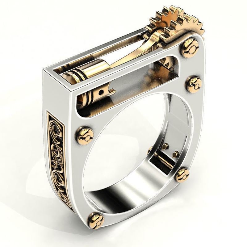 Geometric Mechanical Gear Wheel Ring for Women Men Silver Color Punk Wedding Band Finger Ring Modern Jewelry