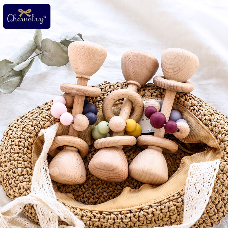 1PC Baby Teether Toys Beech Wooden Rattle Wood Teething Rodent Ring Silicone Beads Musical Chew Play Gym Montessori Stroller Toy