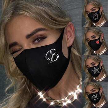 Fashion Mask heart Rhinestones Glitter Face Masks women Washable Breathable Ice Cotton Mouth Mask Outdoor Dustproof image