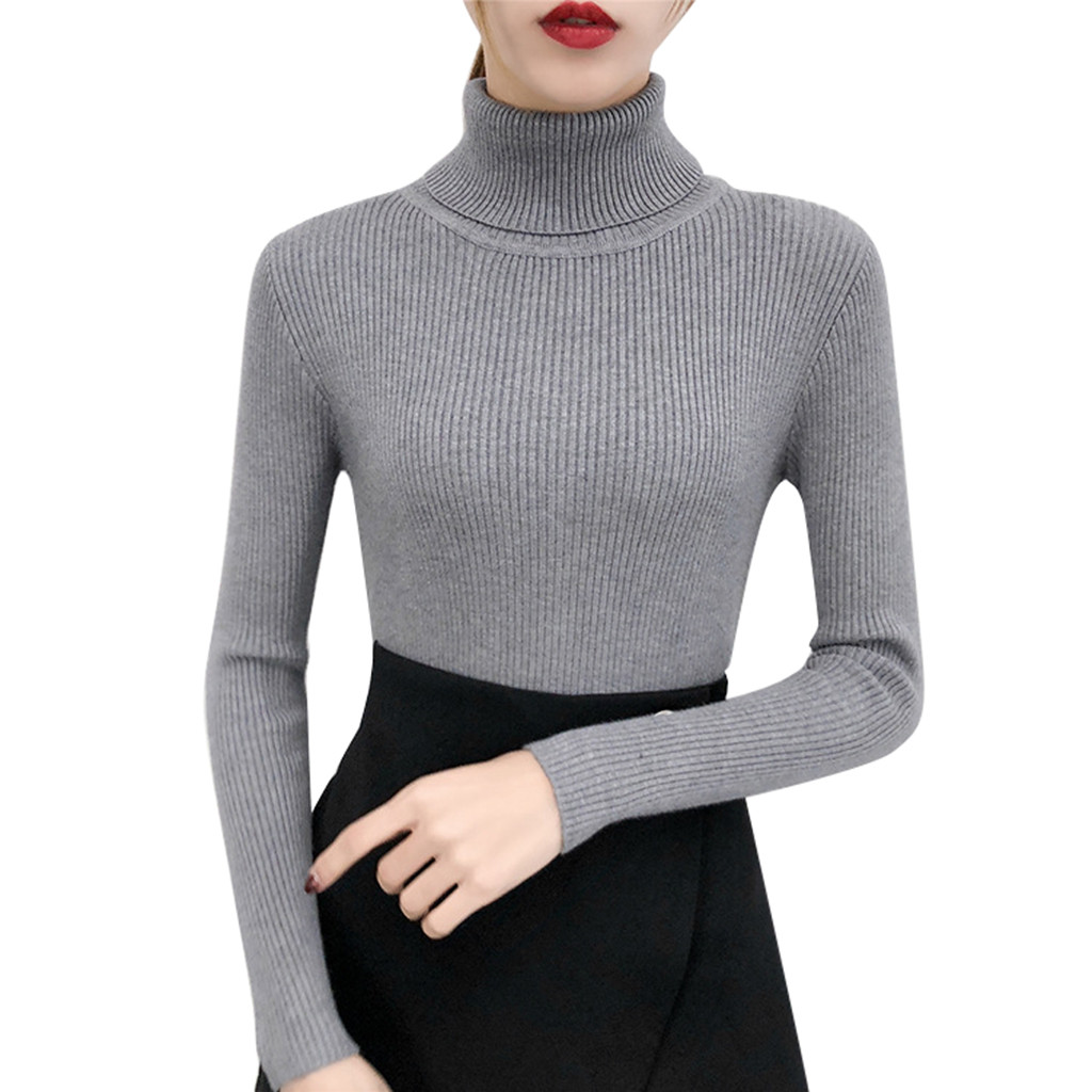 Autumn Winter Sweater Women Long Sleeve Pullover Turtleneck Knitting Basic Tops водолазка кардиган