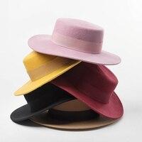 Women Wide Brim Fedora 100% Wool Flat Top Hat Ribbon Bowknot Accent Church Dress Derby Ladies Hat Warm Winter Hats Cap