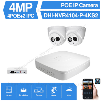 Dahua 4MP 4+2/4 Security Camera System 4MP IP Camera IPC-HDW4433C-A 8CH POE NVR4104-P-4KS2 Surveillance P2P System Remote View