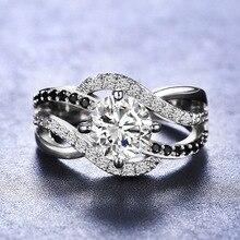 CHUHAN стерлингового серебра 925 пробы черный Циркон кольцо акцент черный и белый волновой обмотки кольца для свадьба ювелирные изделия аксессуары