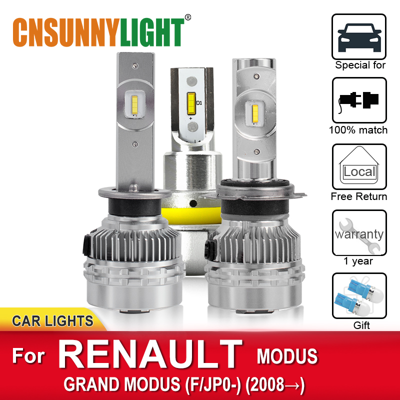 CNSUNNYLIGHT Car <font><b>LED</b></font> Headlamp Bulbs For <font><b>RENAULT</b></font> <font><b>MODUS</b></font> / GRAND <font><b>MODUS</b></font> F/JP0 From 2008 Foglamp LoBwithout Cornering Headlamp Lamps image