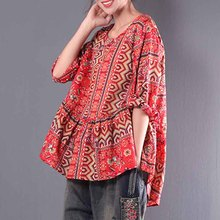 VZFF Plus Size Womens Shirt  Blouse Tunic Tops Vintage Print Ruffles Blusas 2019 Autumn Long Sleeve Shirts