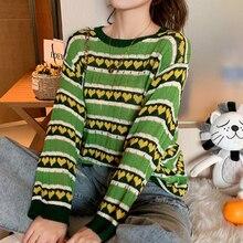 Женский трикотажный свитер в полоску топ зеленого цвета авокадо