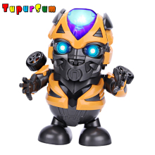 Bumblebee Marvel Avengers Toys Dancing Iron Man Robot with Music Flashlight Tony Stark Electric Action Figure Toy for Kids Gift stark music