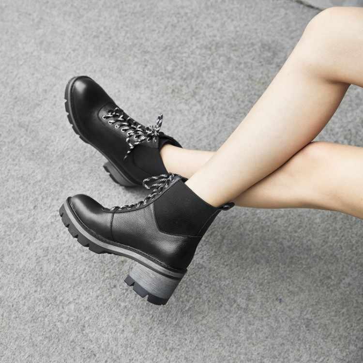 Tanariya Nieuwe Collectie Schoenen Vrouw Laarzen Vrouwen Herfst/Winter 2020 Dikke Hak Koeienhuid Laarzen Voor Dames