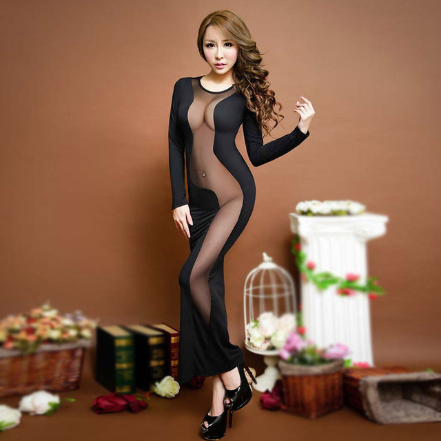 Women Black Long Dress Robe Nightwear Lady Slips Patchwork Mesh See Throught Dress Back Hollow Out Party Night Club Sleepwear 3