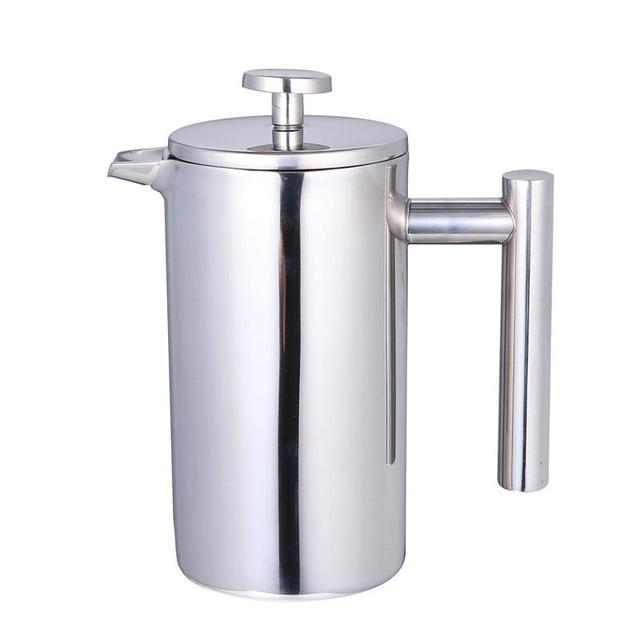 350/800/1000ML Kaffee Töpfe Doppel Schicht Edelstahl Kaffee Und Tee Französisch Presse Wärme Erhaltung becher