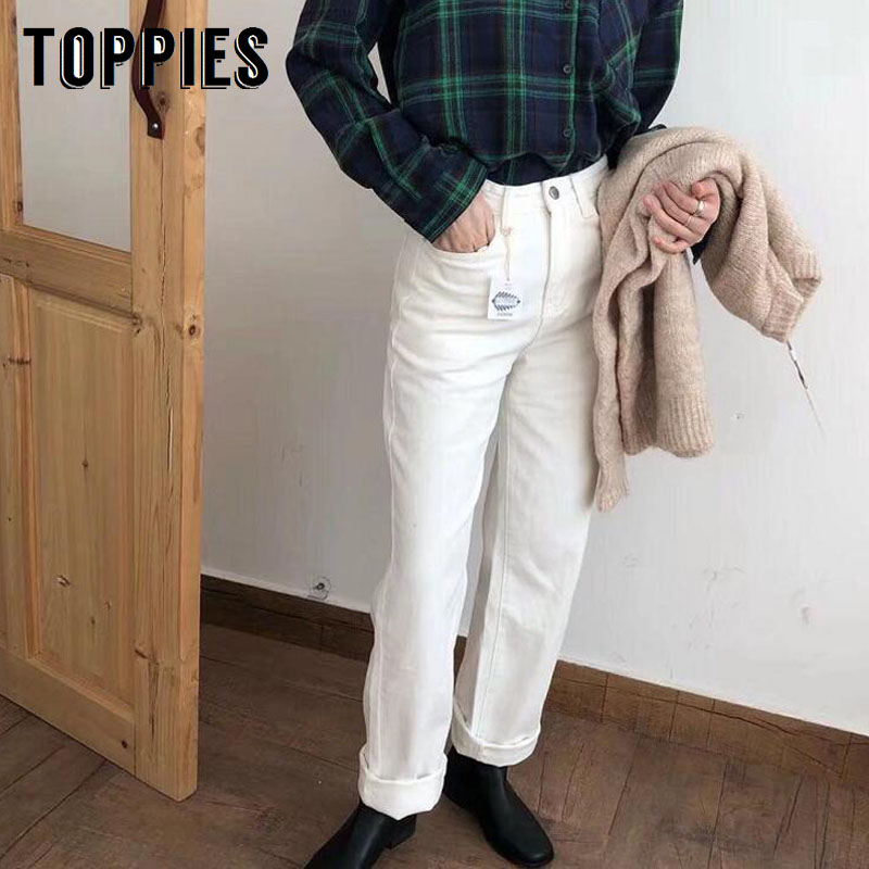 2020 Spring White Jeans Women Long Trousers High Waist Mom Jeans Korean Denim Pants