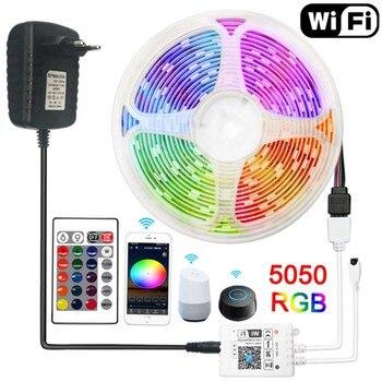 цена на LED Strip 12v WIFI 5M 10M 15M Led Light Strip Waterproof 5050 2835 RGB LED Tape Diode Ribbon Alexa Google Assistant Control
